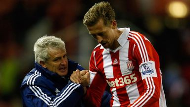 Mark Hughes: Says Peter Crouch is staying at the Britannia in January
