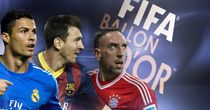 Cristiano Ronaldo, Lionel Messi and Franck Ribery are on Ballon d'Or shortlist