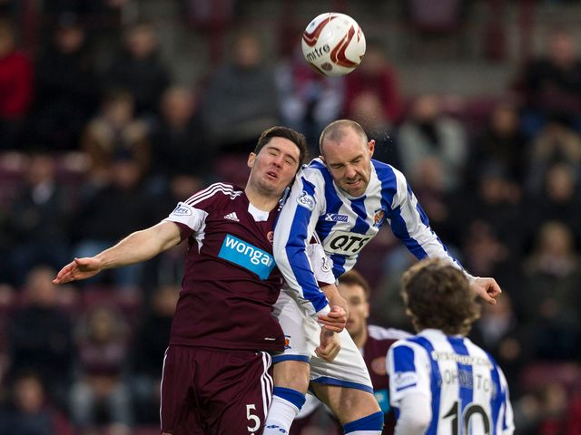 Kilmarnock's Kris Boyd (right) battles with Dylan McGowan
