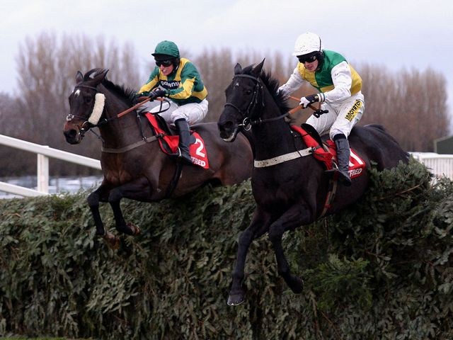 Rebel Rebellion (left) on his way to victory in the Grand Sefton