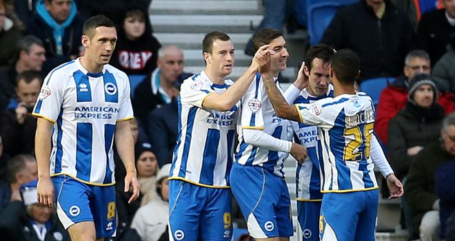 Ashley Barnes (2nd left): Celebrates his opener