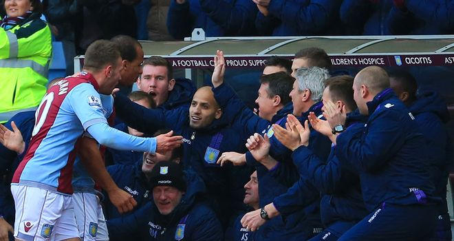 Gabriel Agbonlahor: Celebrates his opener with Villa team