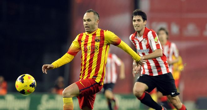 Andres Iniesta in action for Barcelona.