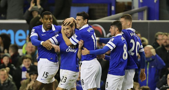 Seamus Coleman: Celebrates his strike