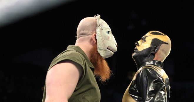Goldust (R) pinned Erick Rowan in Washington, DC