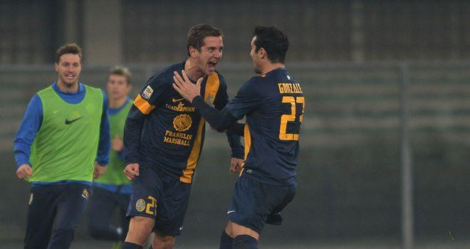 Juan Gomez celebrates his goal for Verona