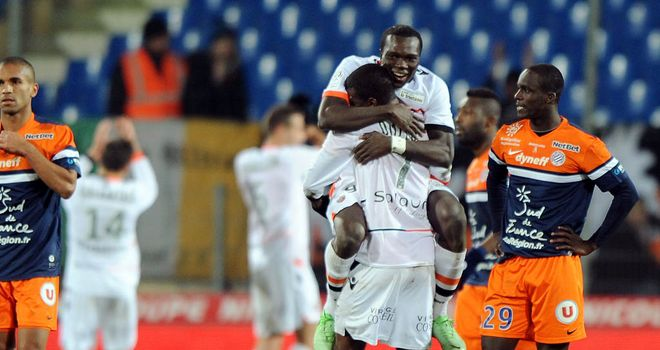 Lorient celebrate their victory at full time