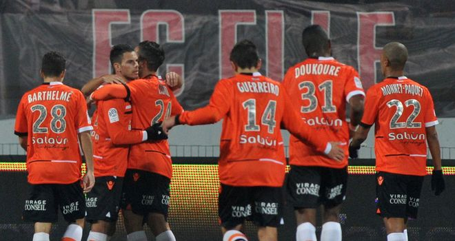 Lorient celebrate against Rennes