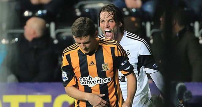 Michu showed his frustration in the second half after being outmuscled by Hull's Alex Bruce