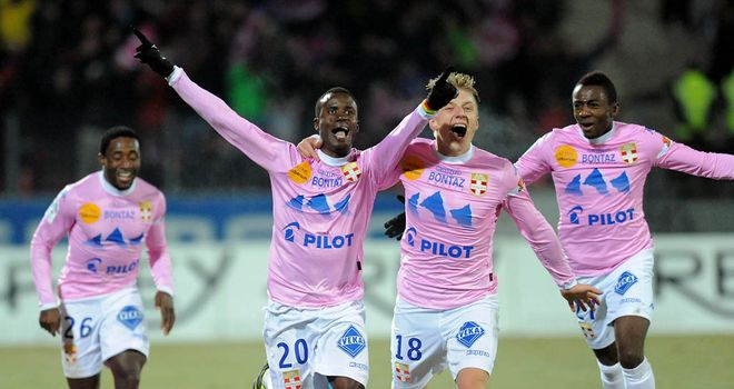 Modou Sougou celebrates his goal for Evian