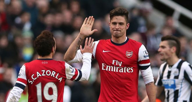 Olivier Giroud: Scored his 13th Premier League goal of the calender year of 2013