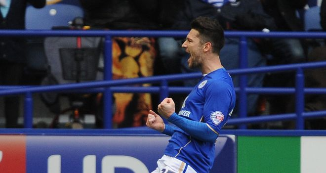 David Nugent: Celebrates after scoring from the spot