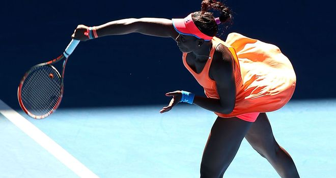 Sloane Stephens serves her way to victory during Monday's mixed doubles match at the Hopman Cup in Perth