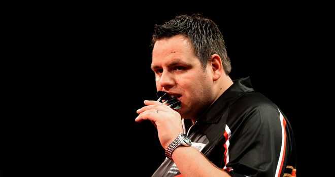 Adrian Lewis plays his third round match at Alexandra Palace on Saturday