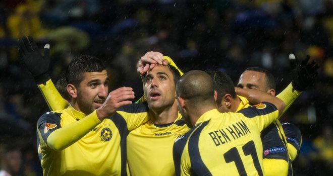 Eran Zahavi (c): Celebrates goal for Maccabi