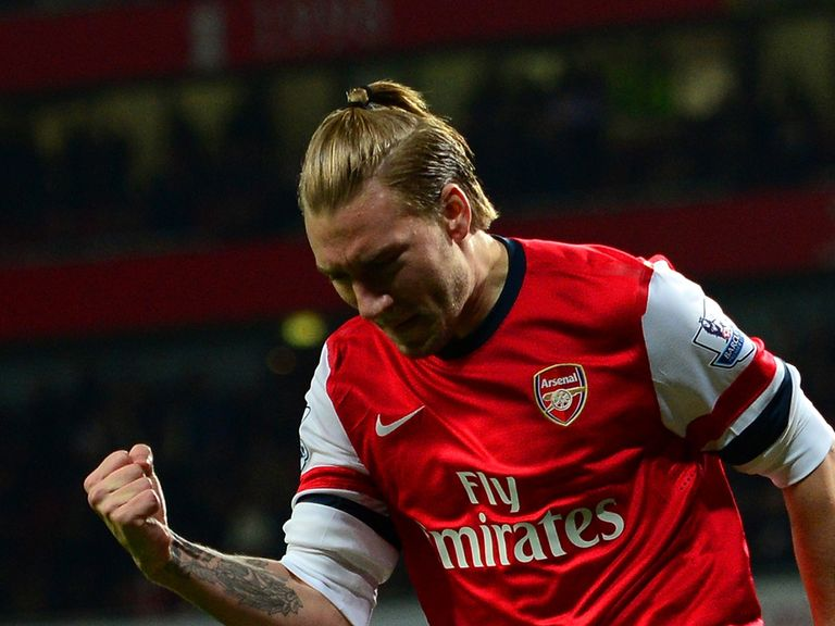 Nicklas Bendtner: Came in for praise from manager Arsene Wenger