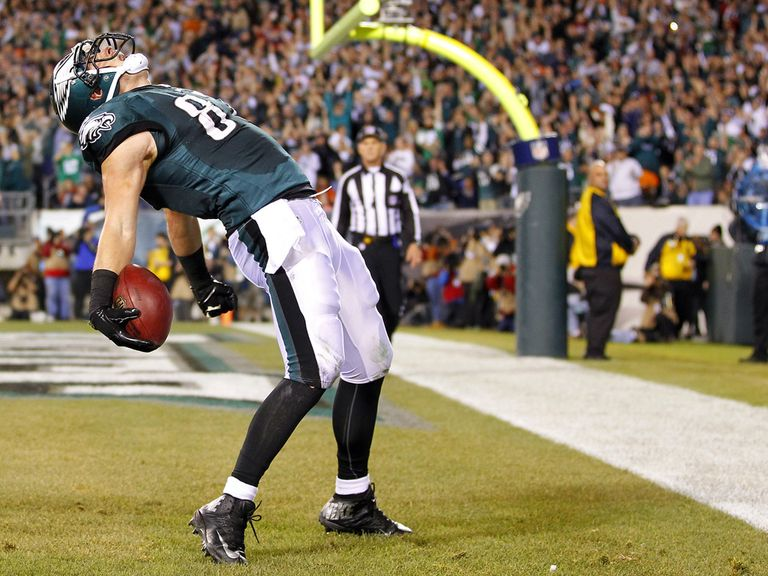 A delighted Brent Celek gets into the end zone