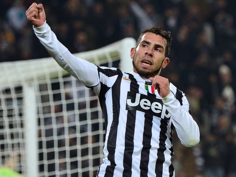 Carlos Tevez celebrates during Juventus' victory