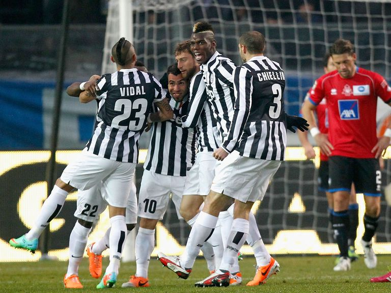 Juventus celebrate against Atalanta