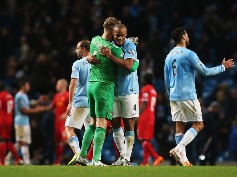 Manchester City celebrate their win over Liverpool