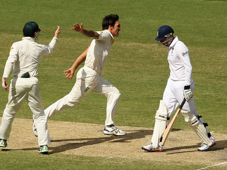 Mitchell Johnson celebrates as Australia turn the tide