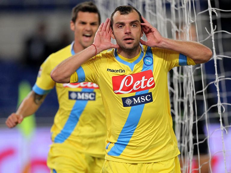 Goran Pandev celebrates his goal for Napoli