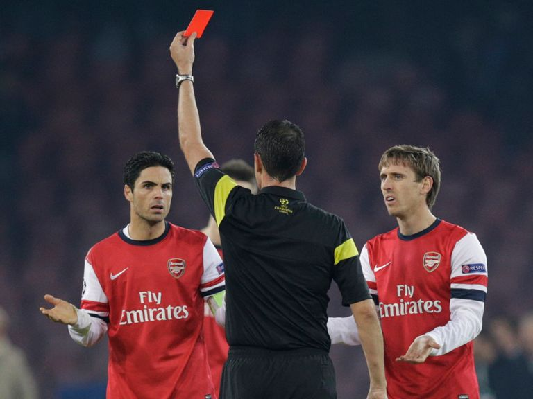 Mikel Arteta: Sent off in midweek