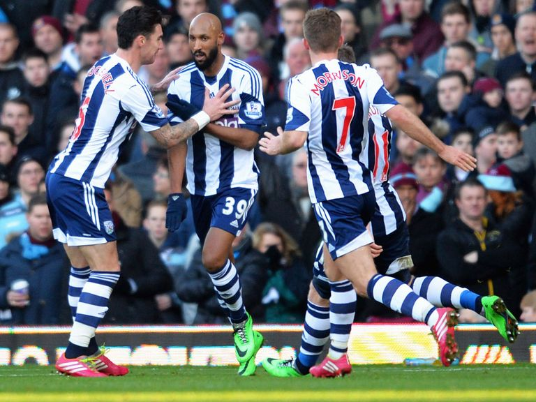 Nicolas Anelka: Celebrates after scoring against West Brom
