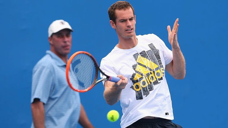 Andy Murray being put through his paces by coach Ivan Lendl in Melbourne