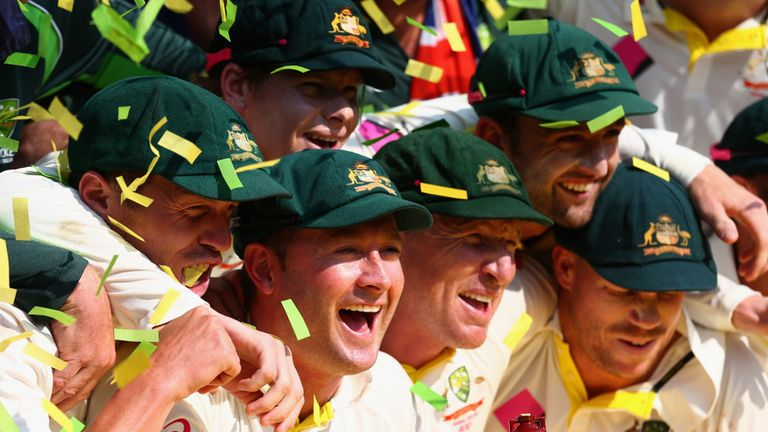 The Australia players celebrate their Ashes whitewash