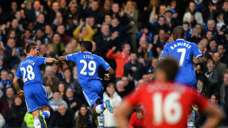 Samuel Eto'o: Celebrates opening the scoring