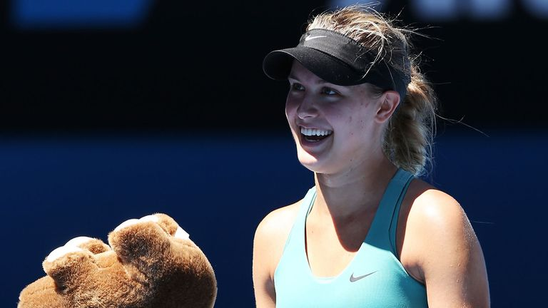 Eugenie Bouchard: Accepts a present from one of her many fans gained Down Under