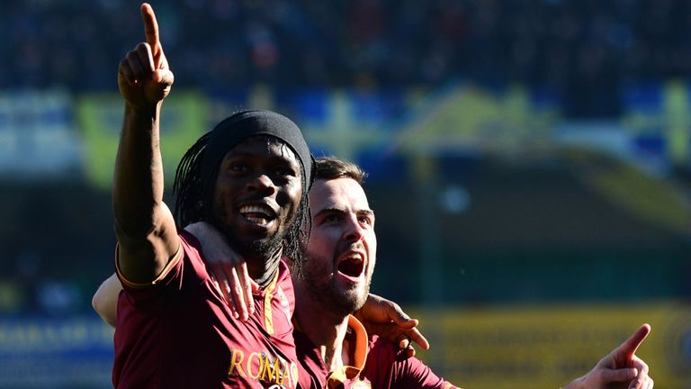 Gervinho: Celebrates goal for Roma against Hellas Verona