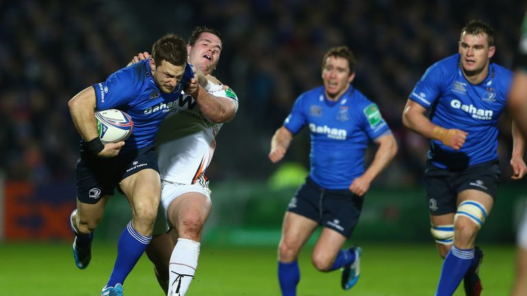 Jimmy Gopperth makes some hard yards for Leinster