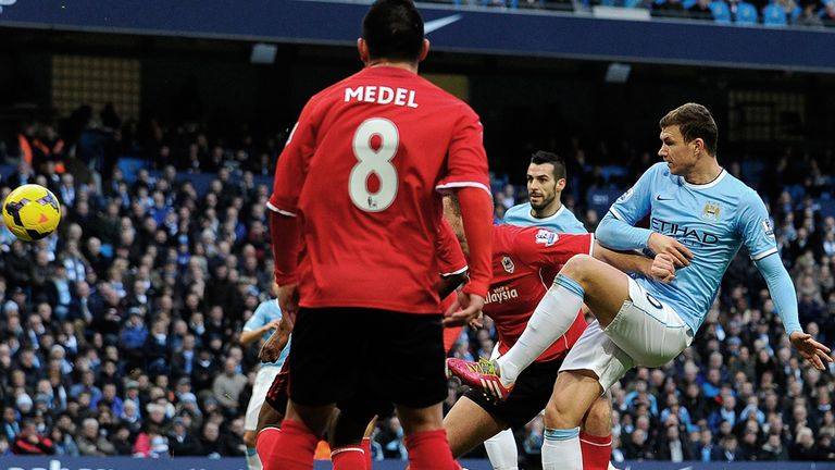 Edin Dzeko: Scores City's 100th goal of the season