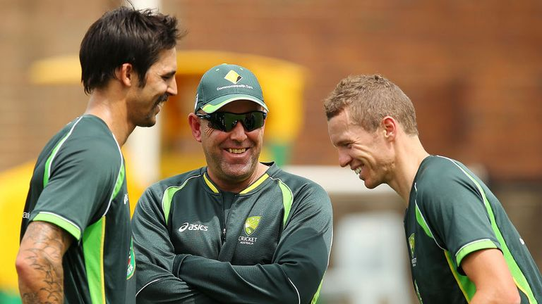 Lehmann (centre) is happy with the bowlers at his disposal