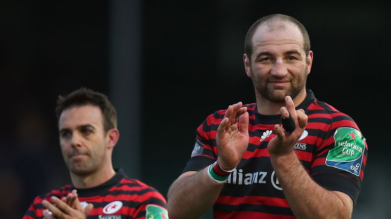 Borthwick (right) will make a record 263rd Premiership appearance on Sunday