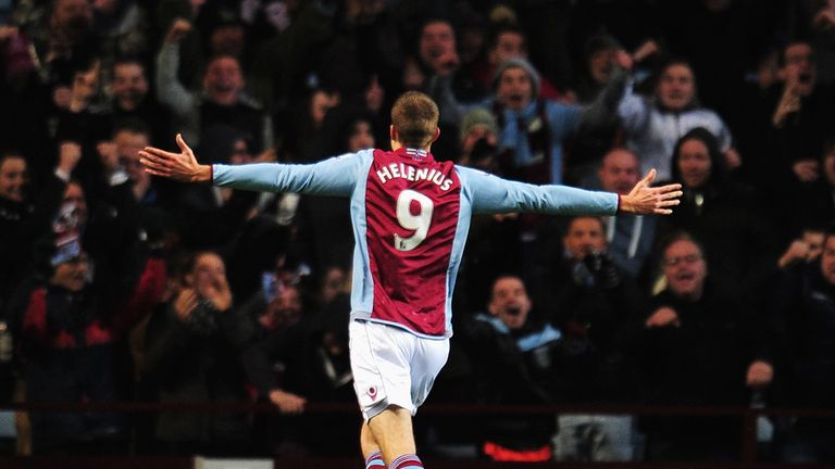 Nicklas Helenius: Aston Villa striker celebrates his first goal for the club