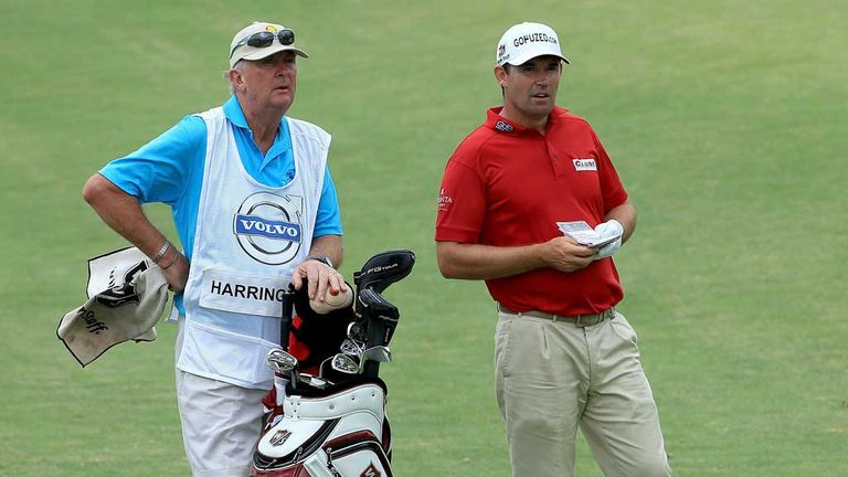 Padraig Harrington with stand-in caddie Pat Cashman