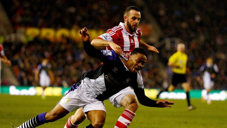 Sterling: went down under Marc Wilson's challenge with score at 2-2