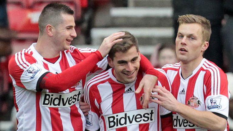 Sunderland celebrate Charis Mavrias' goal against Kidderminster