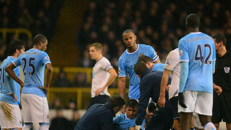 Sergio Aguero: Forced off with a hamstring complaint at White Hart Lane