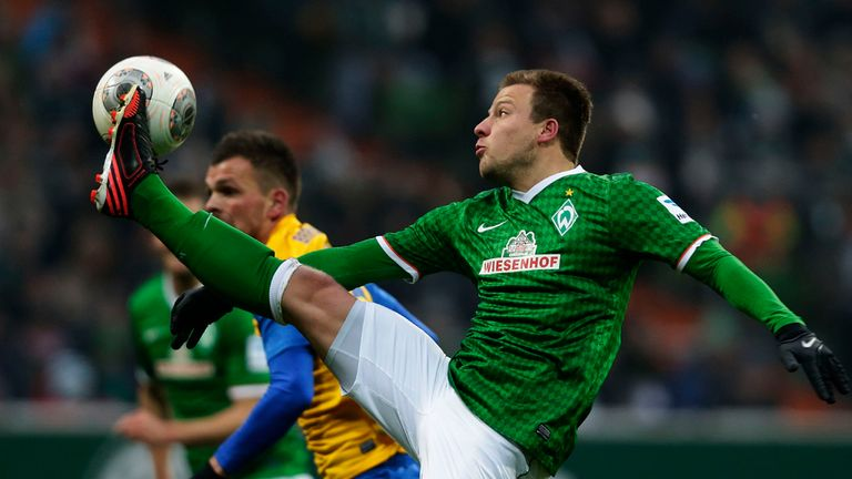Philipp Bargfrede gets his boot high