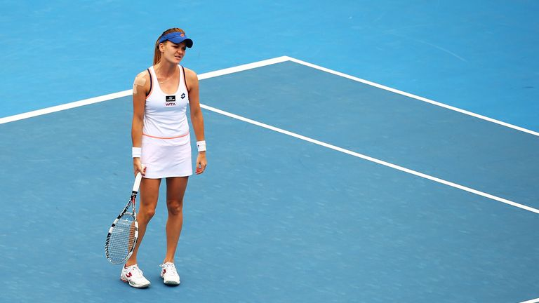 Agnieszka Radwanska looks dejected during her loss to Bethanie Mattek-Sands