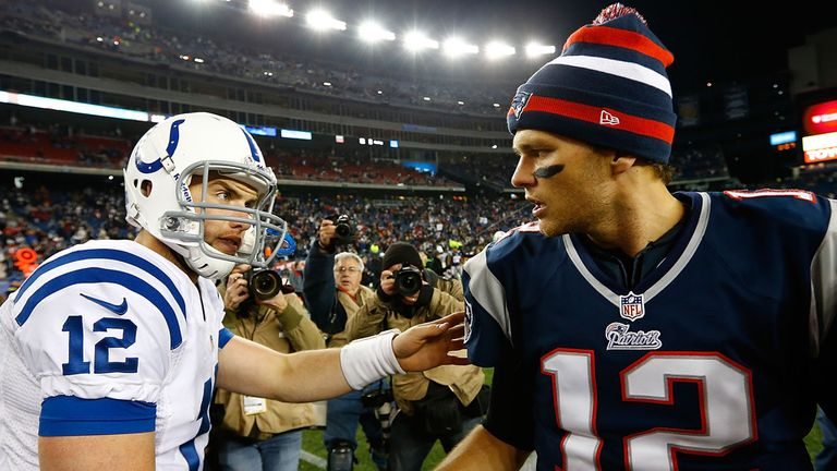 Andrew Luck and Tom Brady shake hands after meeting for the first time 14 months ago
