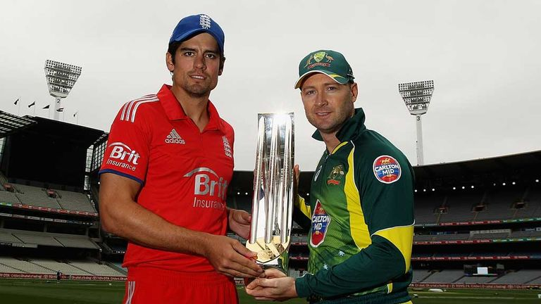 Alastair Cook and Michael Clarke hold the one-day series trophy