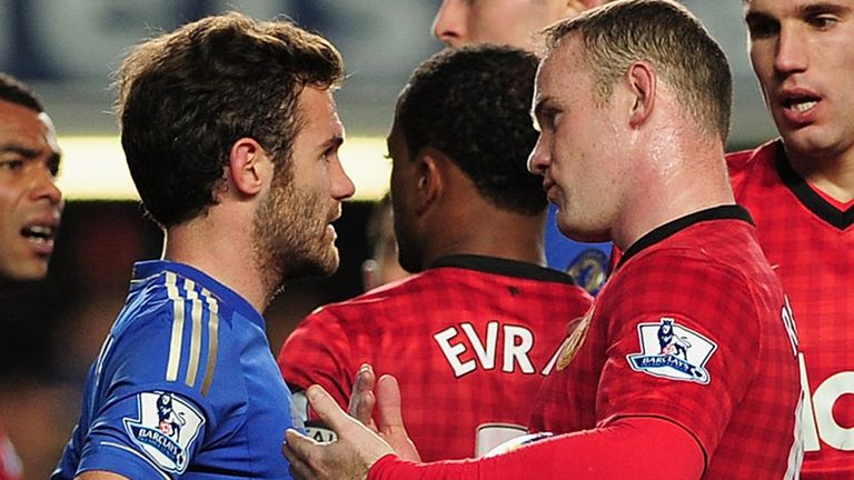 Juan Mata and Wayne Rooney during Chelsea's 3-2 home defeat to Manchester United in October.