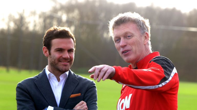 David Moyes welcomes Juan Mata ahead of his Manchester United medical