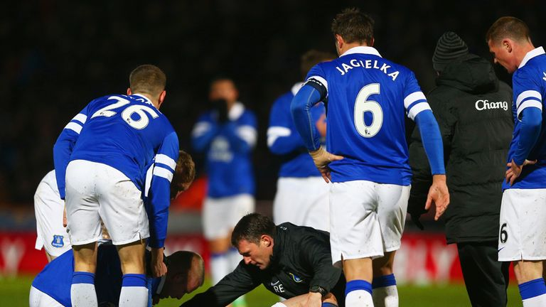Bryan Oviedo: Everton man suffered suspected broken leg against Stevenage