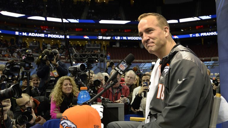 Denver Broncos quarterback Peyton Manning speaks to the press during Media Day